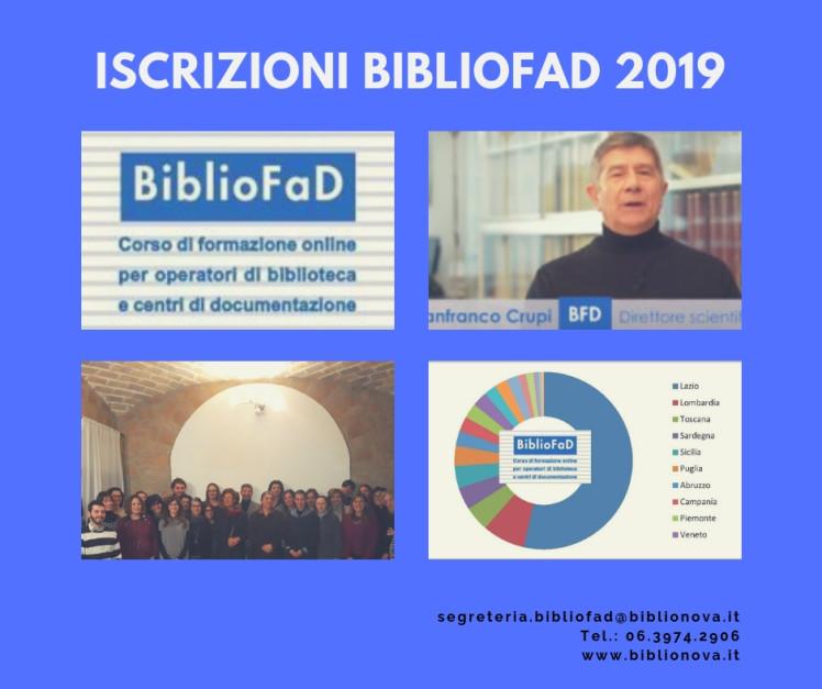 Logo BiblioFaD; video del prof. Gianfranco Crupi; partecipanti edizione 2018; iscritti BiblioFaD per regione
